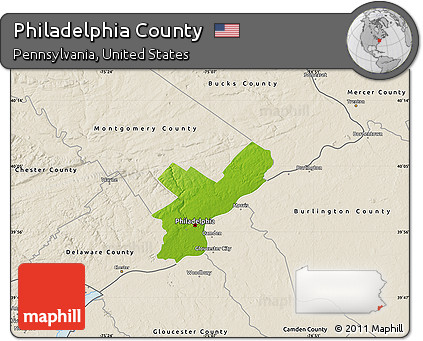 Free Physical Map of Philadelphia County, shaded relief outside