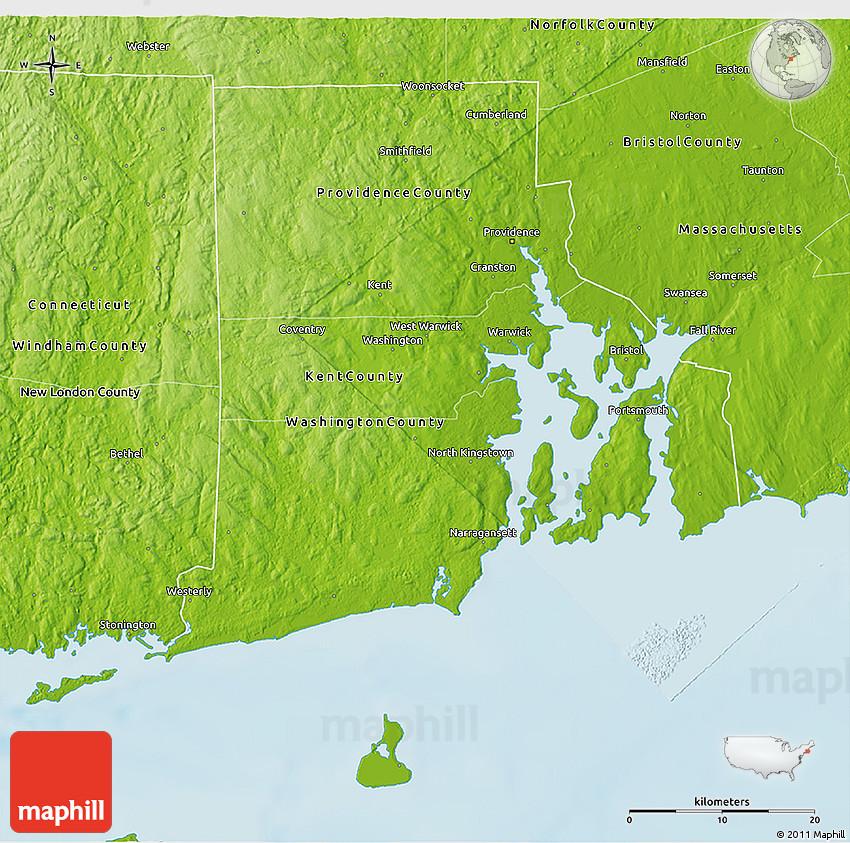 Physical 3D Map Of Rhode Island