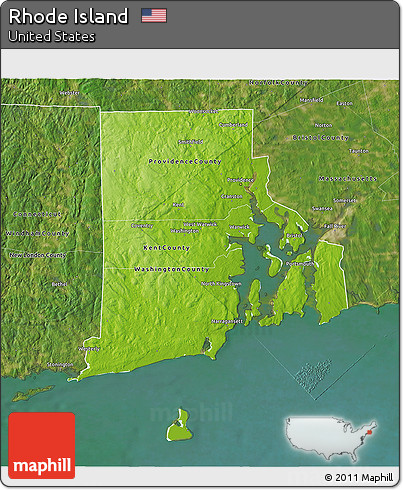 Free Physical D Map Of Rhode Island Satellite Outside - Rhode island physical map