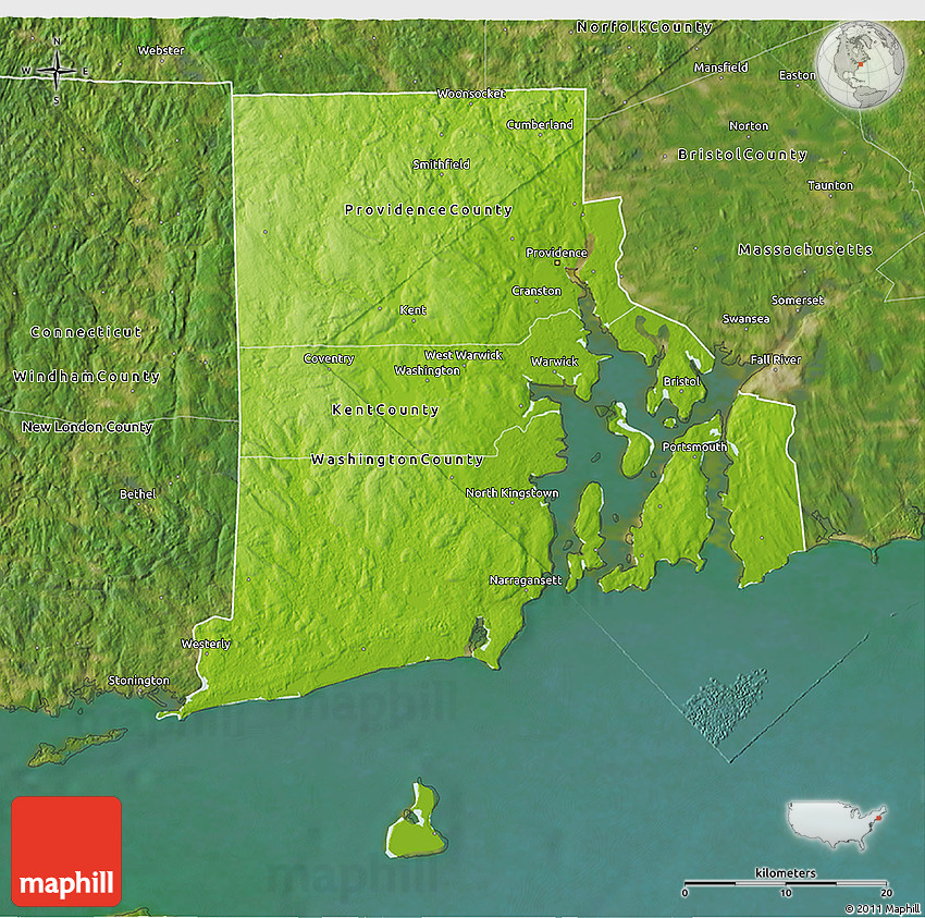 Physical 3D Map Of Rhode Island, Satellite Outside