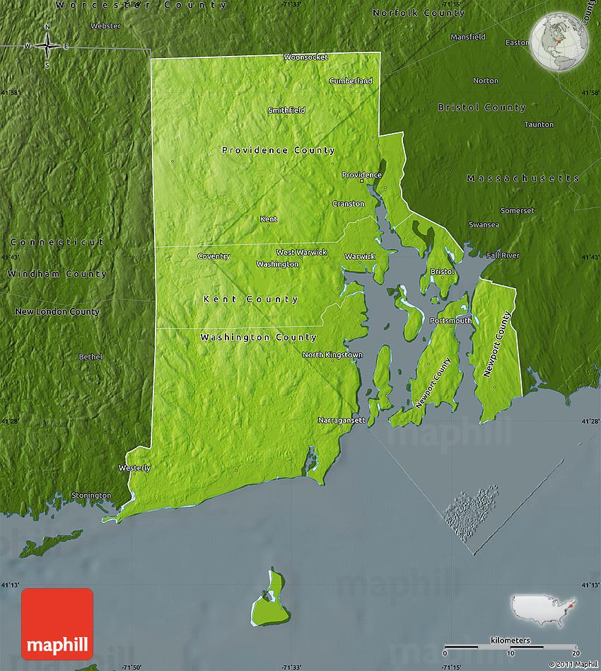 Physical Map Of Rhode Island, Darken