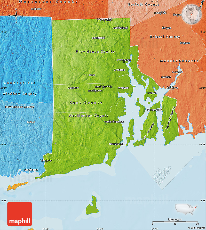 Physical Map Of Rhode Island, Political Shades Outside