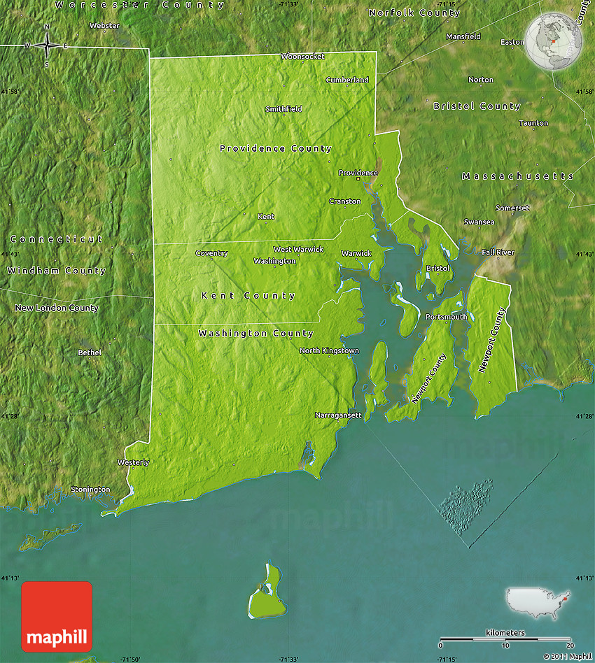Physical Map Of Rhode Island Satellite Outside - Rhode island physical map