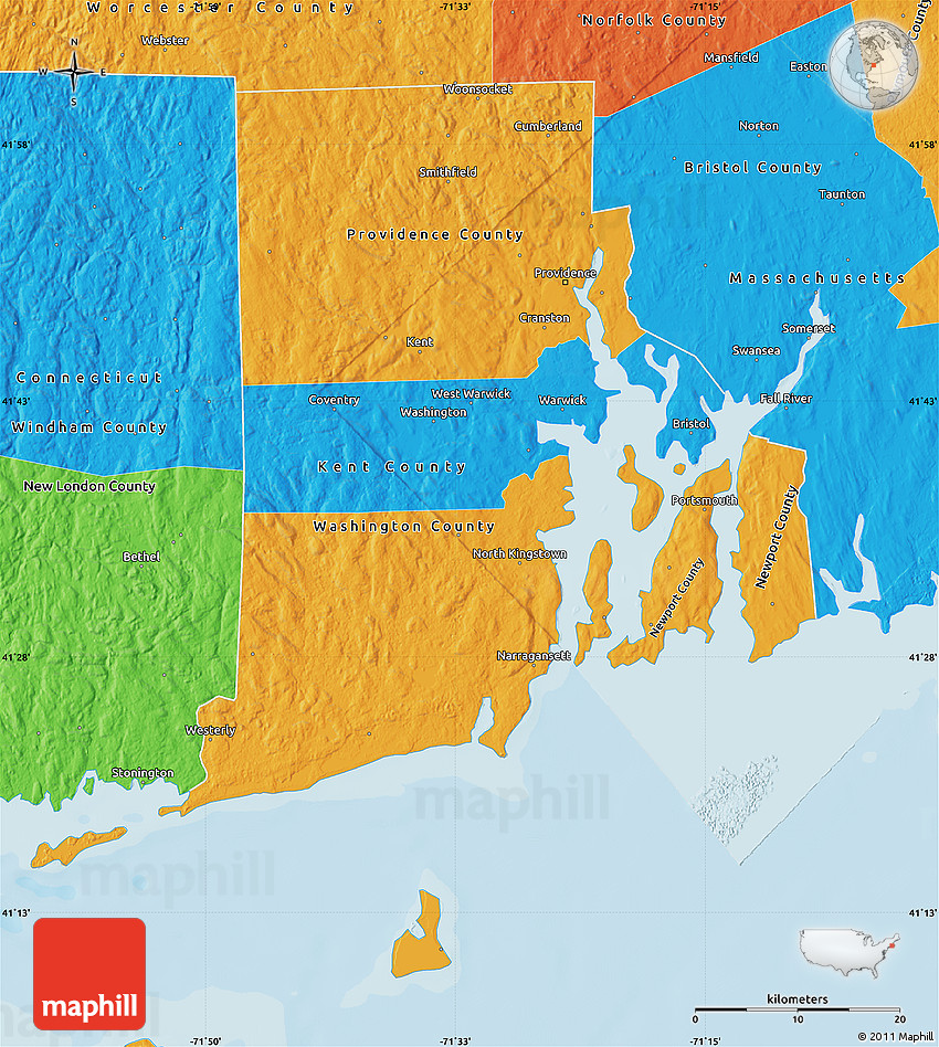 Political Map Of Rhode Island