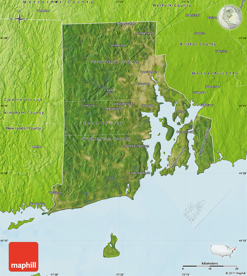 Satellite Map Of Rhode Island Physical Outside - Rhode island physical map