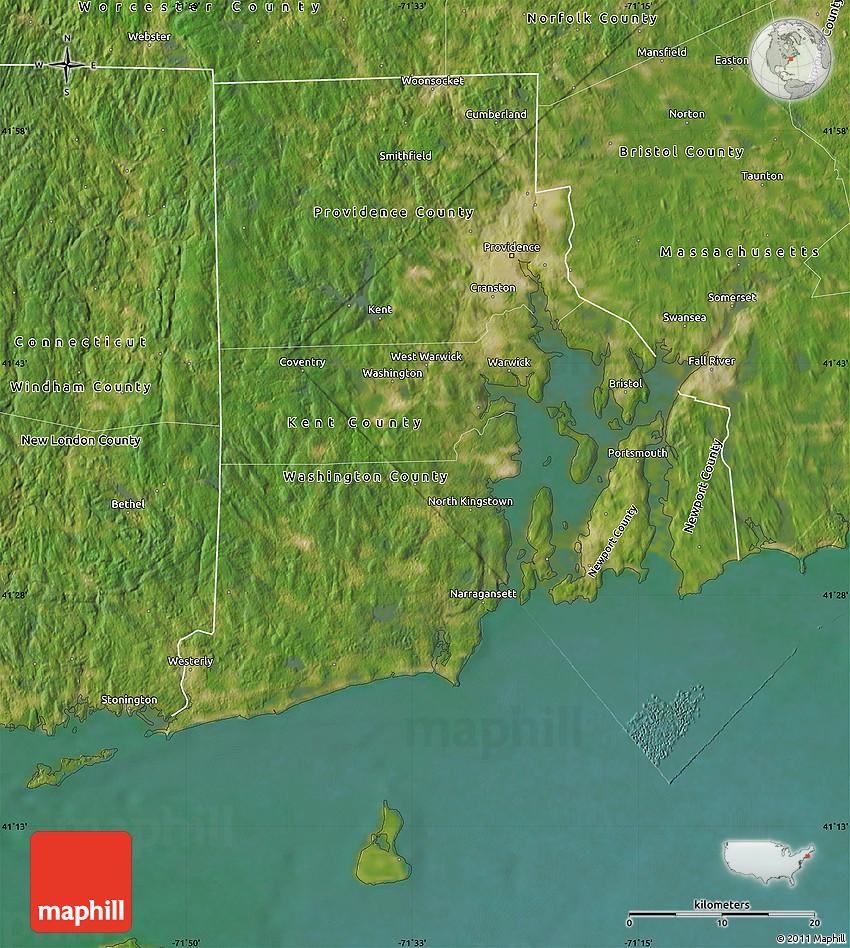 Satellite Map Of Rhode Island