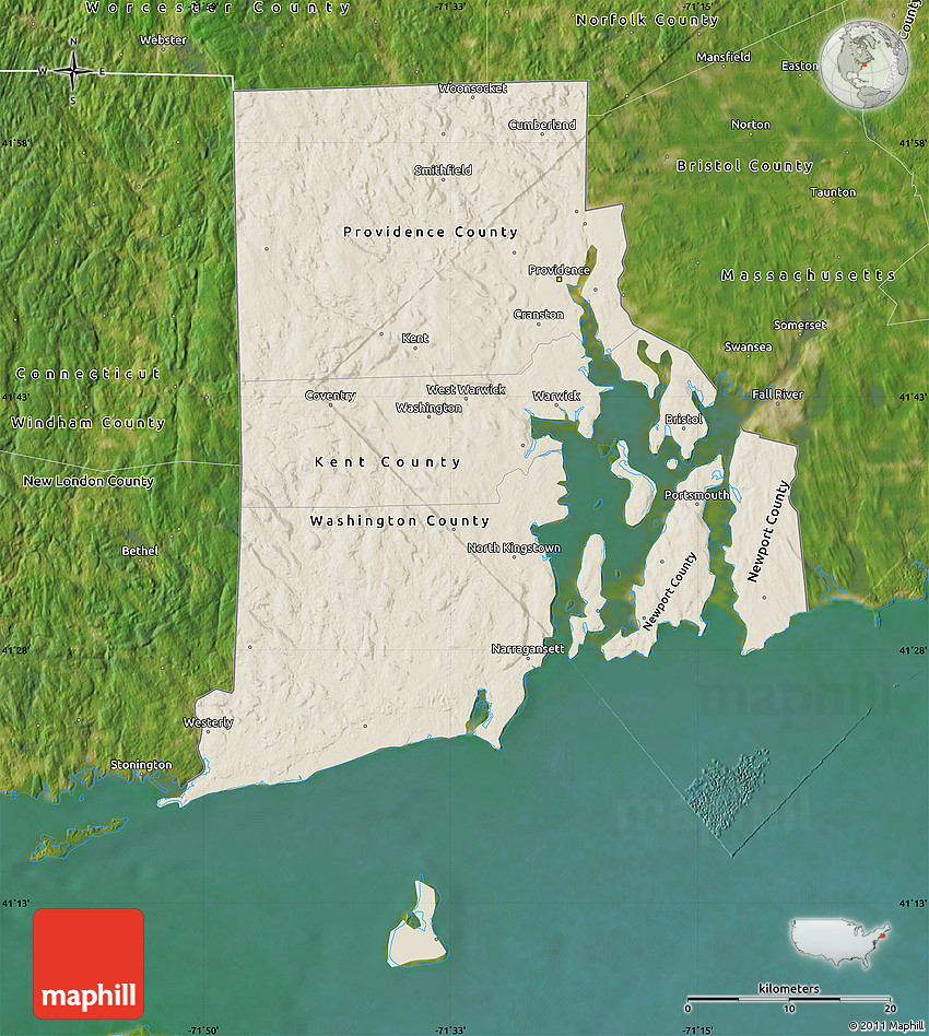 Shaded Relief Map Of Rhode Island, Satellite Outside