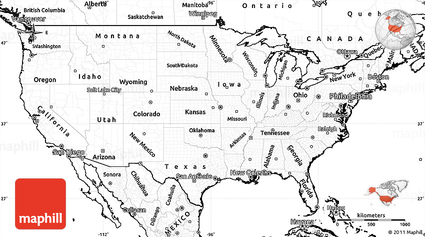 Blank Simple Map Of United States Unlabeled USA Control Map PP - Unlabeled us map