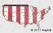 Flag Simple Map of United States, flag aligned to the middle
