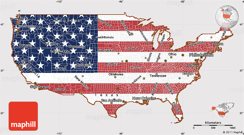 Flag Simple Map Of United States - Simple us map