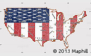 Flag Simple Map of United States, flag rotated