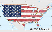 Flag Simple Map of United States, single color outside