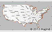 Gray Simple Map of United States, cropped outside