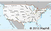 Gray Simple Map of United States, single color outside