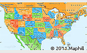 Political Simple Map of United States, political shades outside