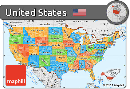 Free Political Simple Map of United States single color outside