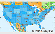 Political Shades Simple Map of United States, political outside