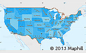 Political Shades Simple Map of United States, single color outside