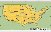 Savanna Style Simple Map of United States, cropped outside