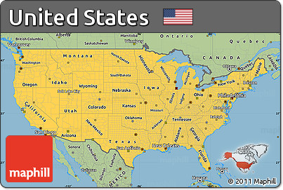 Free Savanna Style Simple Map Of United States