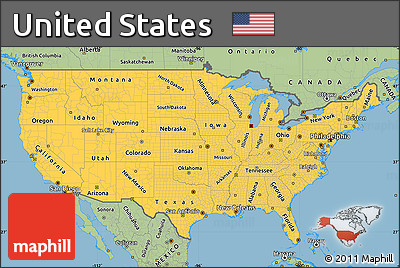 Free Savanna Style Simple Map Of United States - Simple us map