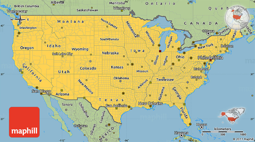 Savanna Style Simple Map Of United States - United state maps