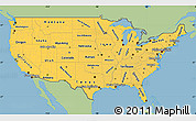 Savanna Style Simple Map of United States, single color outside