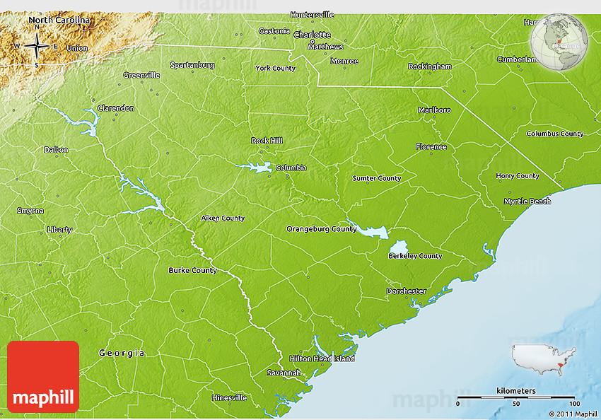 Physical 3D Map of South Carolina