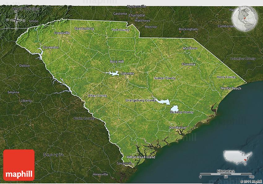 Columbus South Carolina Map.Satellite 3d Map Of South Carolina Darken