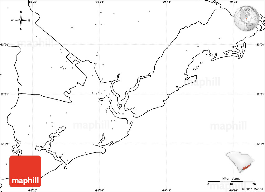 Blank Simple Map Of Charleston County No Labels - Us map without labels
