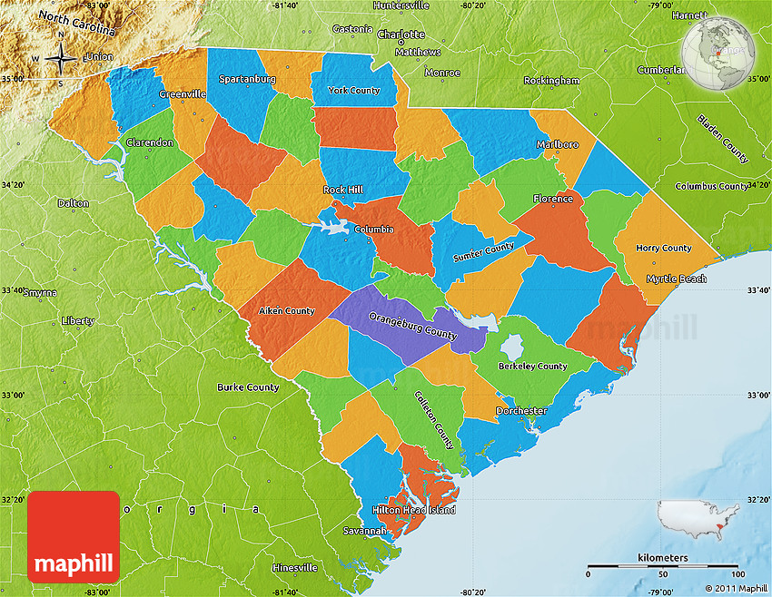 Political Map of South Carolina, physical outside