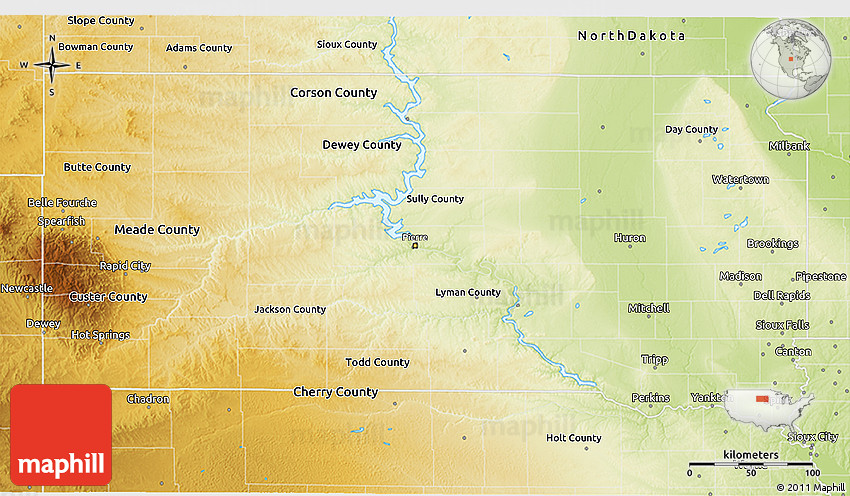 Physical 3D Map of South Dakota