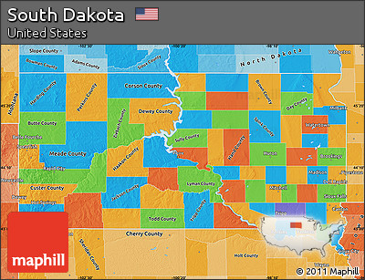 Free Political Map Of South Dakota Political Shades Outside - Political map of south dakota