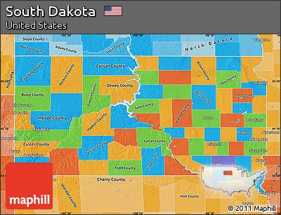 Free Political Map Of South Dakota Political Shades Outside - Political map of south dakota