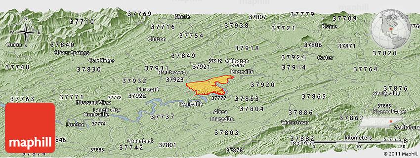 Pigeon Forge Zip Code Map.Savanna Style Panoramic Map Of Zip Code 37919