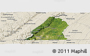 Satellite Panoramic Map of Hamilton County, shaded relief outside