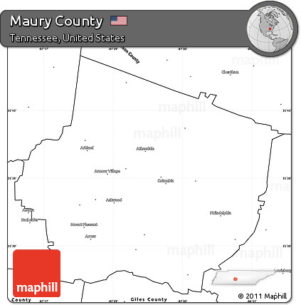graphic regarding Printable Map of Tennessee Counties identify Totally free Blank Very simple Map of Maury County