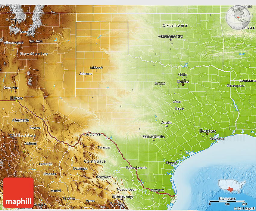 Physical 3d Map Of Texas