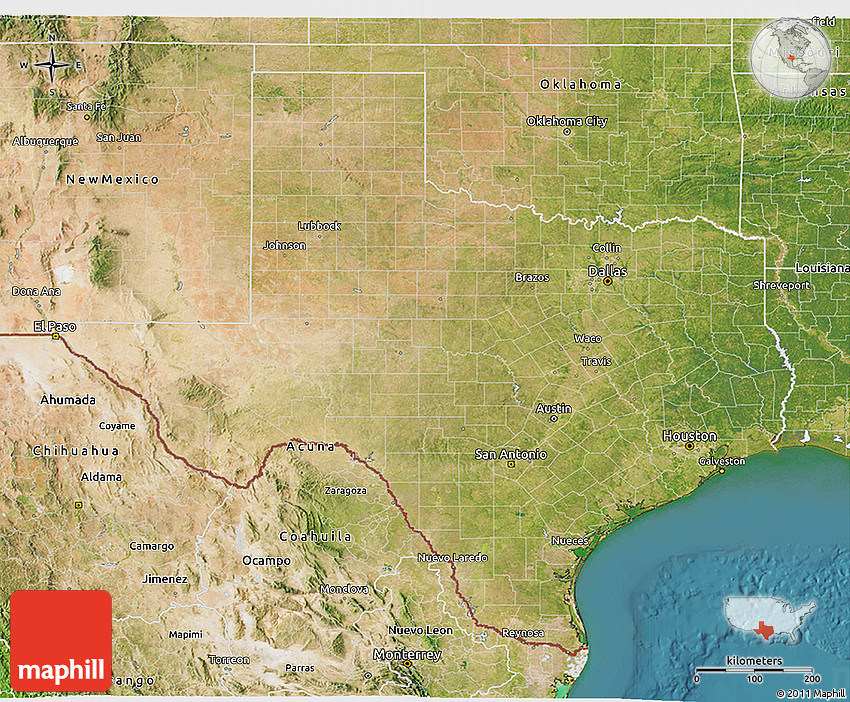 Satellite 3d Map Of Texas