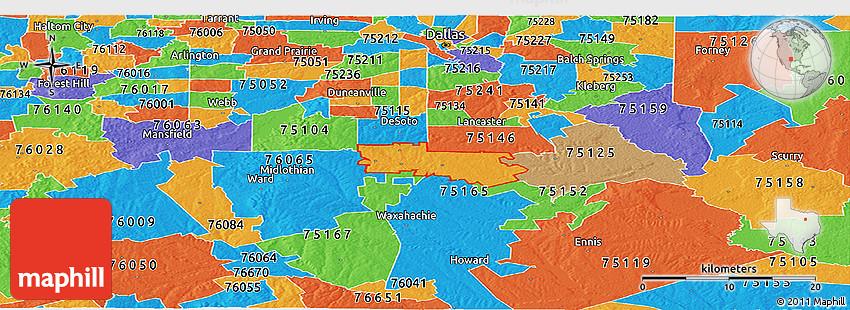 Political Panoramic Map Of Zip Code 75154