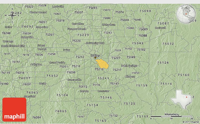 Savanna Style 3D Map of ZIP Code 75215