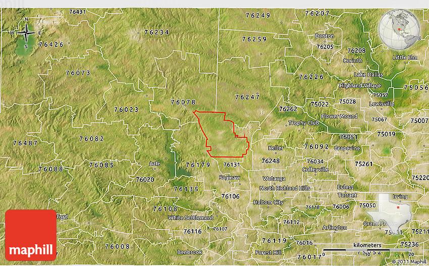 Satellite 3d Map Of Zip Code 76052