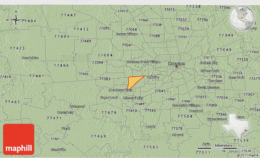Savanna Style 3d Map Of Zip Code 77036