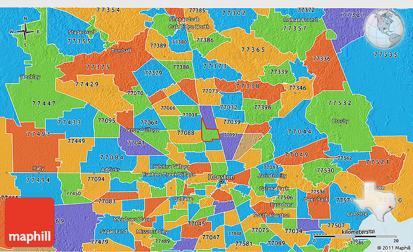Political 3D Map of ZIP Code 77037 on