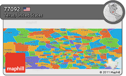 Free Political Panoramic Map Of Zip Code 77092