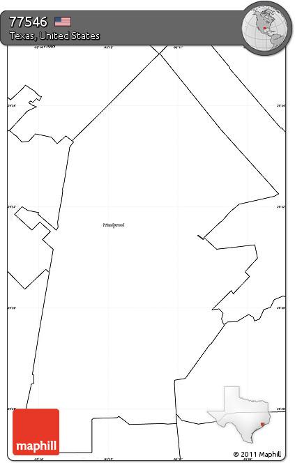 Free Blank Simple Map of ZIP Code 77546