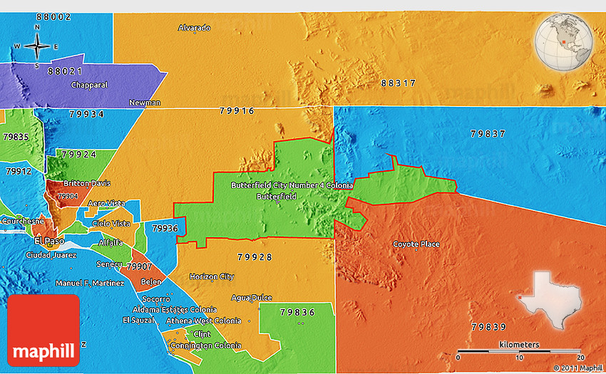 Political 3D Map of ZIP Code 79938 on zip code map 79901, zip codes by city, zip code map el paso 79932,