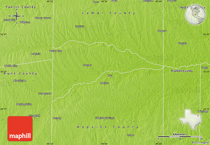 Physical Map of Delta County
