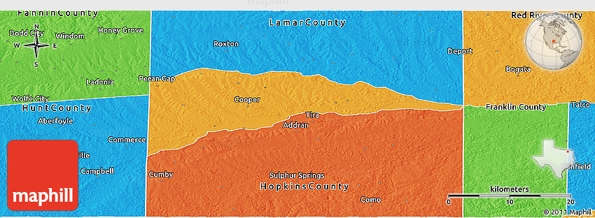 Political Panoramic Map of Delta County