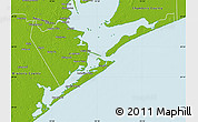 Physical Map of Galveston County
